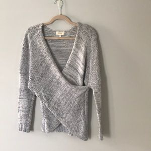 Grey cross front sweater, size Small